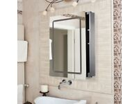 LED Cabinet Mirror Modern Bathroom Sliding Door Illuminated Silver RRP £179.99