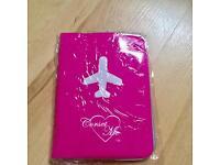 New Bright Pink Jet Off UK US European Passport PVC Cover Holder Protector Case