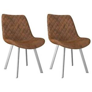 Dining Chairs 2 pcs Brown Ultrasuede Leather 7ULLO-282560