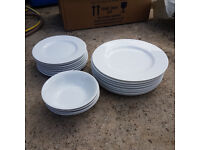 Marks and Spencers Pure 8 Dinner plates, 8 side plates, 4 bowls, white M&S - collect Gloucester