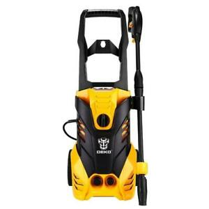 DEKOPRO Electric Pressure Washer, High Pressure Cleaner. Turbo Nozzle. Rolling Wheels with Temperature Sensor. 3000PSI