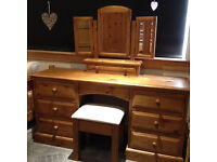Dressing table with mirror and covered stool. From smoke free home