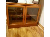 Solid pine Side table with glass door