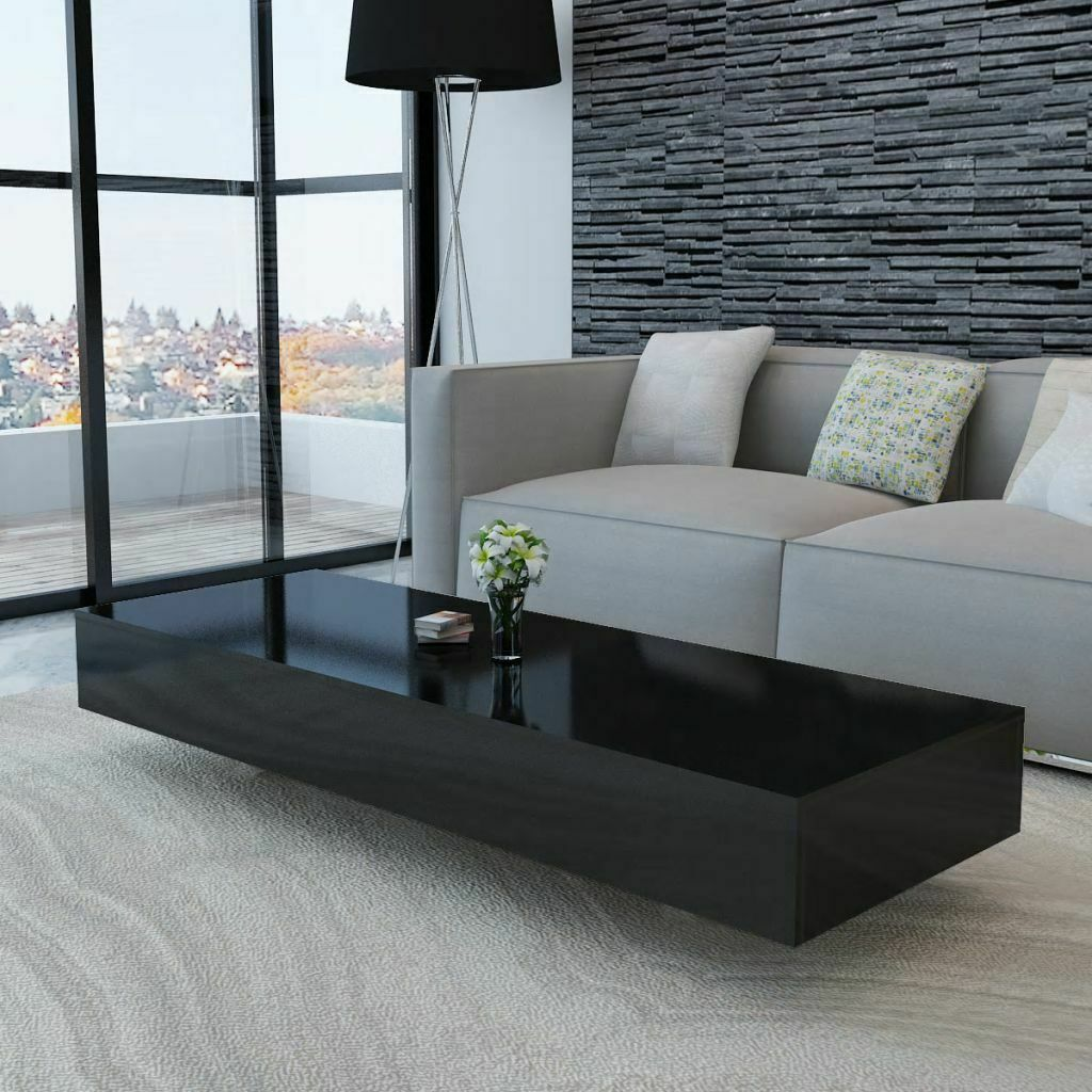 Details about Coffee Table High Gloss Black Accent Tea Side Living Room  Furniture