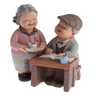 Old Couple Fairy Garden Ornament Decor Craft Accessories - Drinking Tea
