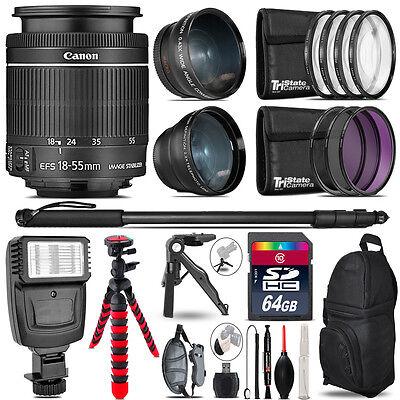 Canon 18-55mm IS STM - 3 Lens Kit + Slave Flash + Tripod - 64GB Accessory Bundle