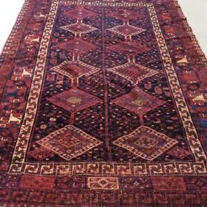 Hamedan Antique Persian Rug, Handmade Carpet, Wool, Red, Burgundy, Black, Beige, Orange & Blue Size: 8.9 X 5.9 ft