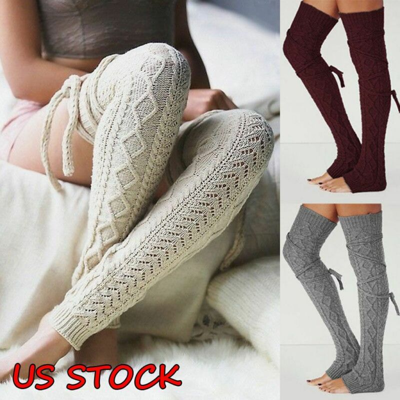 Women Winter Warm Crochet Leg Warmers Cable Knit Ladies Knitted Socks Leggings