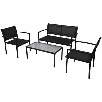 vidaXL Conjunto de Muebles de Jardín Incluye 4 Piezas con Banco de Color Negro