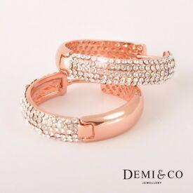 18k Rose Gold plated earrings round multiple crystals hoop drop dangle wedding