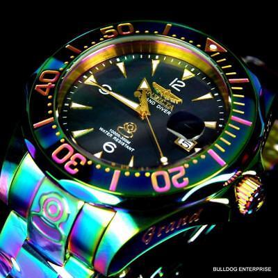 Invicta Grand Diver Black Mop Iridescent Steel Bracelet Automatic 47Mm Watch New