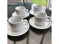 Set of 4 Pure White Tea Cups & Saucers - Crockery/Mugs