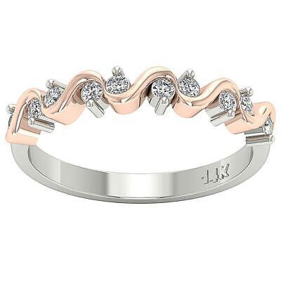14K Two-Tone Gold Wedding Ring Natural Round Diamond I1 G 0.30 Carat Prong Set 14k Two Tone Setting