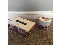 Ceramic Harrods tissue and cotton wool ball holder