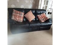 Black leather 3 piece sofa with reclining chair