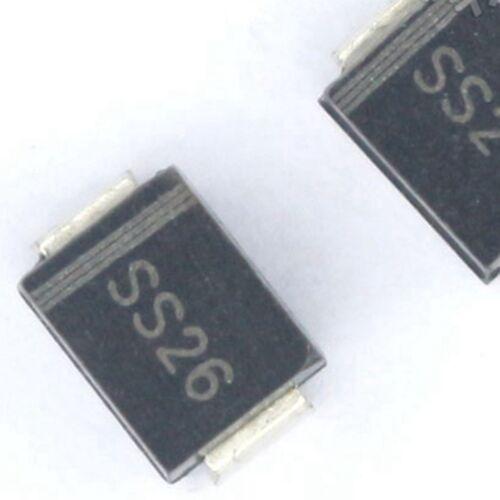 100PCS SS26 SK26 2A/60V SMB DO-214AA Schottky Diodes NEW