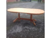 solid antique stained honey pine extended oval table