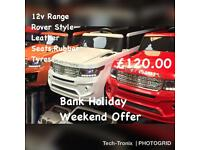 Range Rover Style,12v,Rubber Tyres,Leather Seat, in White,Orange,Red,Ride-On