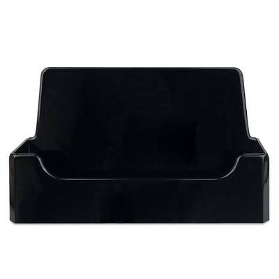 1pc Black Acrylic Single Compartment Desktop Business Card Holder Display Stand