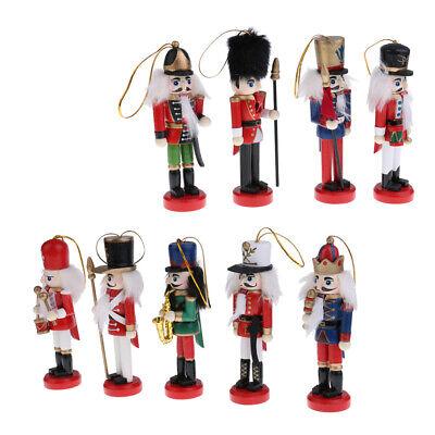 Addobbi natalizi in legno tradizionali appesi con schiaccianoci Set di 9
