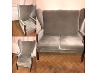 Vintage 2 seater couch and 2 chairs