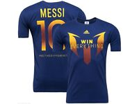 New - Men's Adidas Lionel Messi Finals Logo Football T-Shirt, Top - Navy Blue