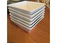 Six Whittard of Chelsea square white bowls
