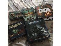 Shadespire, plus expansions, Doom, Xenoshift, Arkham Horror card game.