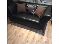 SMALL MODERN TOP QUALITY FULL LEATHER 2SEATER SOFA COST OVER £600 FROM DFS £85 OVNO