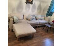 Corner sofa, beige, London, USED, Collection only, E1, Fabric sofa