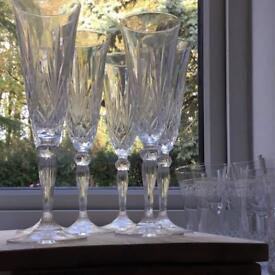 Cut glass champagne flutes