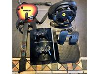 ps3 with 22 games and guitar steering wheel