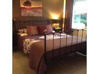 King Size Navy Blue Metal Bed Frame & Tempur Mattress