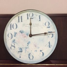 Pretty Laura Ashley wall clock in vintage Shabby Chic style and great condition.