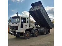Left hand drive Volvo FS10 320 HP Turbo Intercooler 8X4 12 tyres 32 Ton tipper. Low miles.