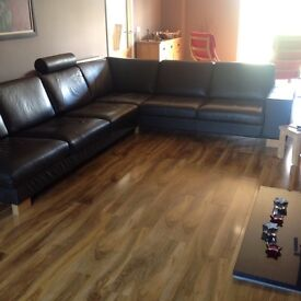 Brown leather corner sofa full thickness leather £490