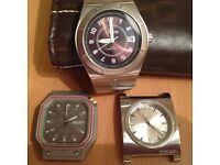 3 Mens watch heads that need new batteries - Nixon Diesel Solvil et Titus - Good condition