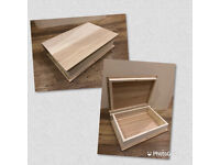New Plain Wooden Hinged Book Shaped Box - Ideal for Storage or Memory Box