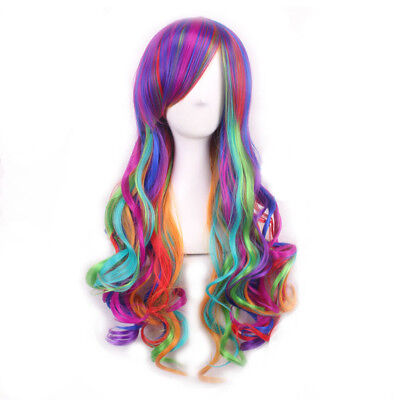 Harajuku Long Wavy Wig Bright Rainbow Wig Girls Synthetic Cosplay Wig - Rainbow Bright Wig
