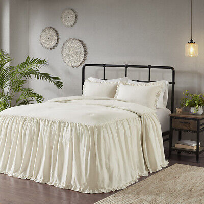 Madison Park Juliet 3 Piece Cotton Ruffle Skirt Bedspread Se
