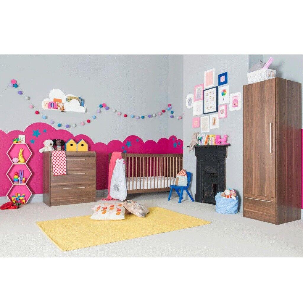 Kiddicare Trio Walnut Nursery Furniture Set