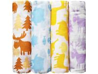 Large baby swaddling muslins with different colourful patterns