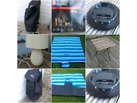 BULK SALE! - Roller bag, hand blender, JBL loudspeaker , table lamp, picnic blanket, garden table