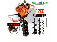 62cc Post Hole Digger Auger Petrol Drill Bit Ultra Sharp Fence Earth Borer by HORTI POWER