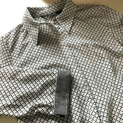 Zara Basic Collection Womens Top White Print Stretch Collar Button-Up Blouse  M