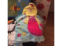 Kids bath robes with hood and bath mat