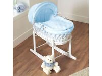 Brand New in Box White Wicker Moses Basket on Deluxe Rocking White Stand