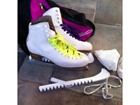 RISPORT LASER WHITE ICE SKATING BOOTS - Blade Guards, Bag & Boot Covers Size 270 6 ish