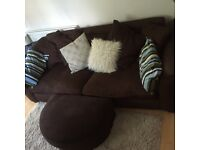 3 Seater comfy couch with puff