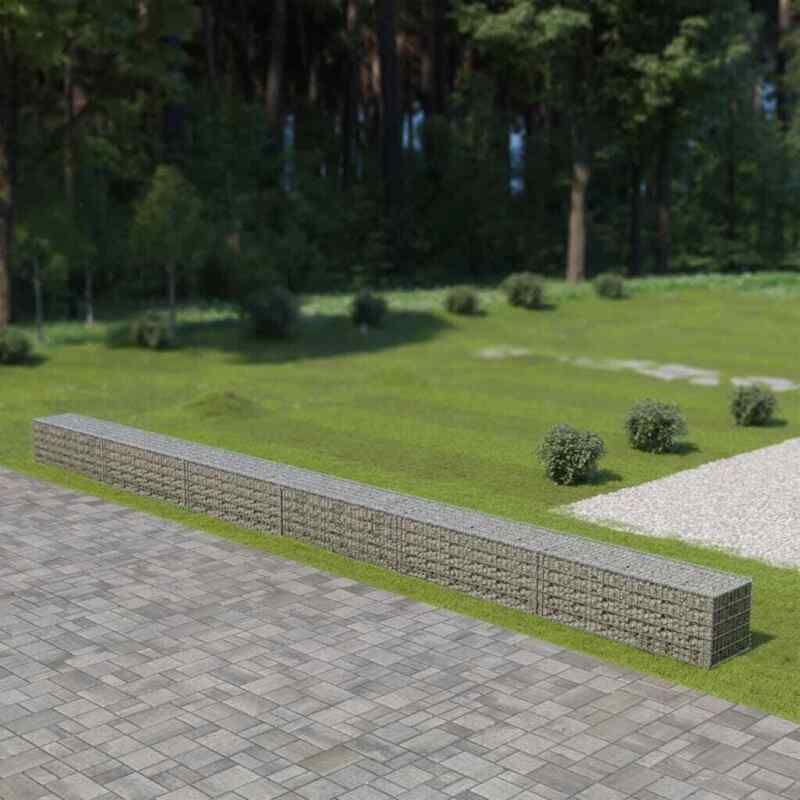 "vidaXL Gabion Wall with Covers Galvanized Steel Garden Fence 354""x19.7""x19.7"""